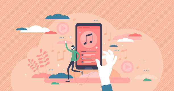 Music playlist vector illustration. Audio songs flat tiny persons concept. vector art illustration