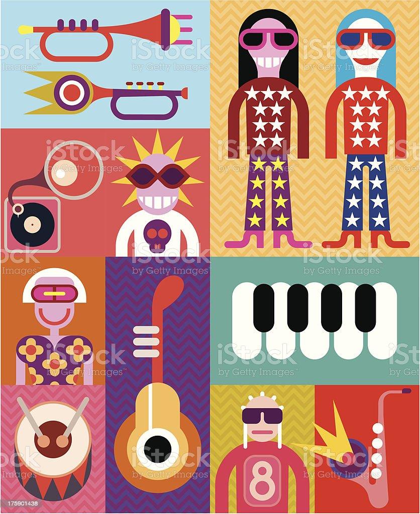 Music - pop art vector illustration vector art illustration