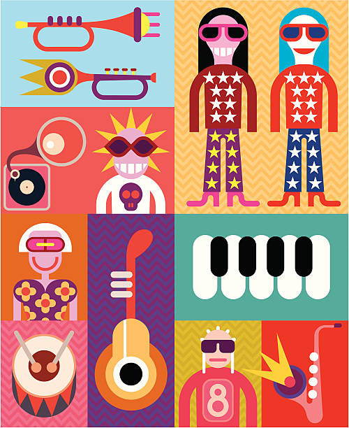 Music - pop art vector illustration Music collage - vector illustration with people and musical instruments. fan club stock illustrations