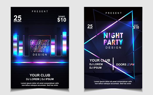 Can use for cover club night invitation, electro dance event, festival party banner