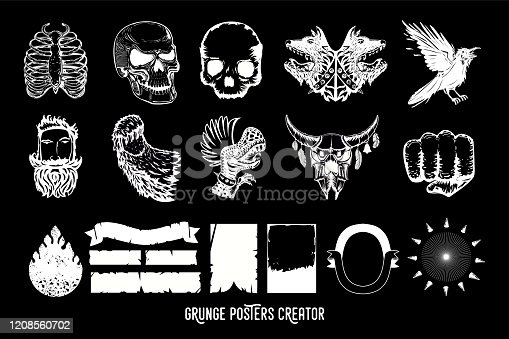 Music poster creator pack. Tattoo style illustration pack for rock and rap music. Vintage vector design icons. Heavy metal and hip-hop style.