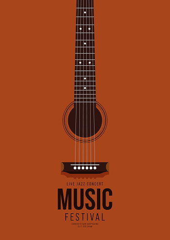 Music poster design template background decorative with guitar