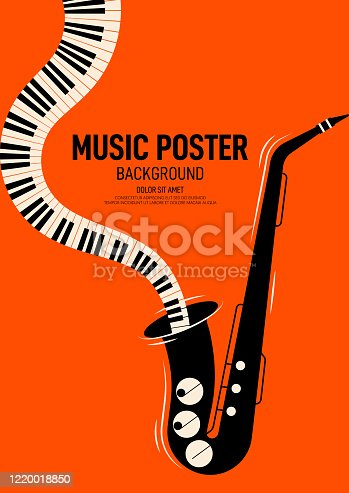 istock Music poster design template background decorative with saxophone and piano keyboard 1220018850