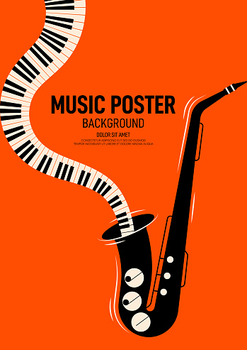 Music poster design template background decorative with saxophone and piano keyboard