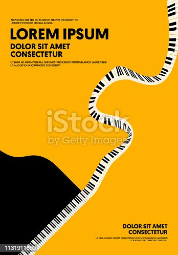 Music poster design template background modern vintage retro style. Can be used for backdrop, banner, brochure, leaflet, flyer, advertisement, publication, vector illustration