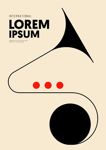Music poster design template background with trumpet and geometric line. Design element template can be used for backdrop, banner, brochure, leaflet, print, vector illustration