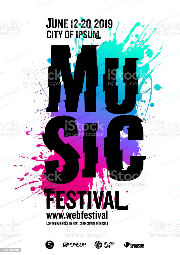 music poster design template creative and dynamic typography background multicolored artistic spots white