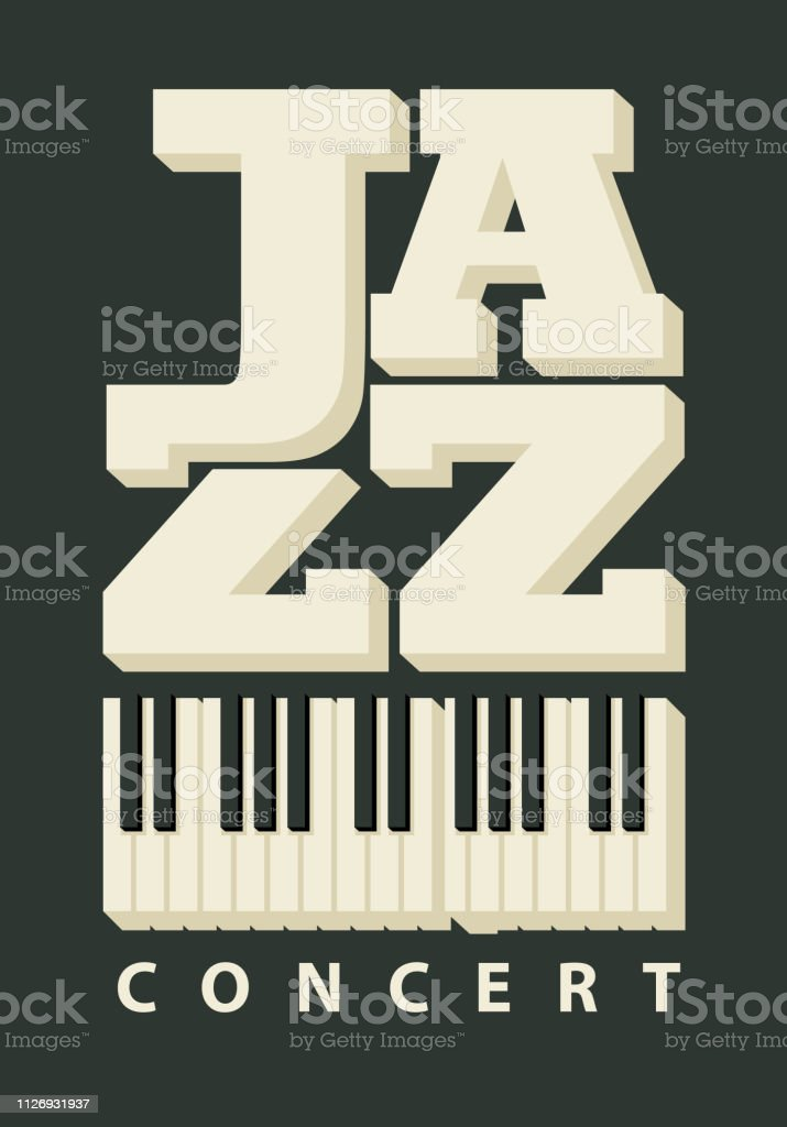Vector banner or poster for a jazz concert with piano keys in retro...
