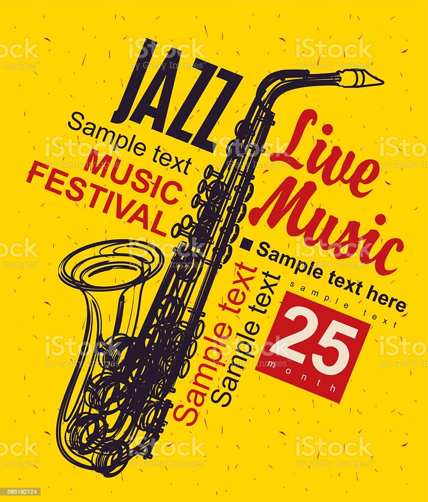 Music poster jazz festival vector art illustration