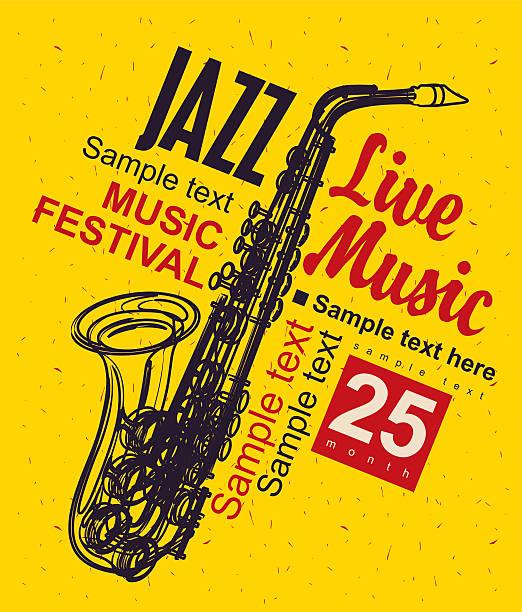 ilustrações de stock, clip art, desenhos animados e ícones de music poster jazz festival - saxofone