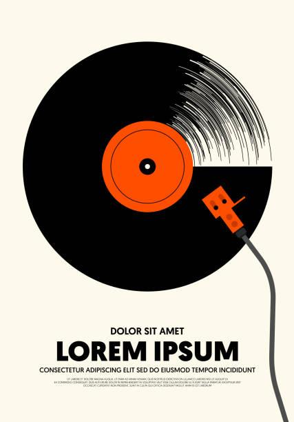 ilustrações, clipart, desenhos animados e ícones de estilo retro do vintage moderno do poster da música - toca discos