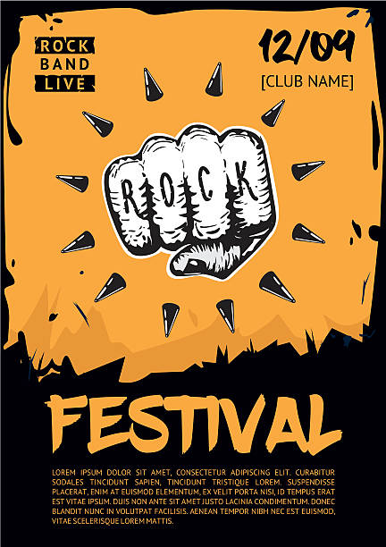 Music poster template for rock concert. Hand with tattoo. - Illustration vectorielle
