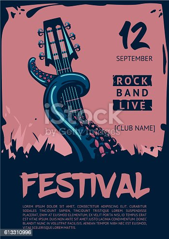 istock Music poster template for rock concert. Octopus with guitar. 613310996