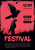 Music poster template for rock concert. Raven with guitar.