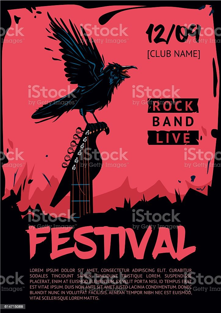 Music poster template for rock concert. Raven with guitar. vector art illustration