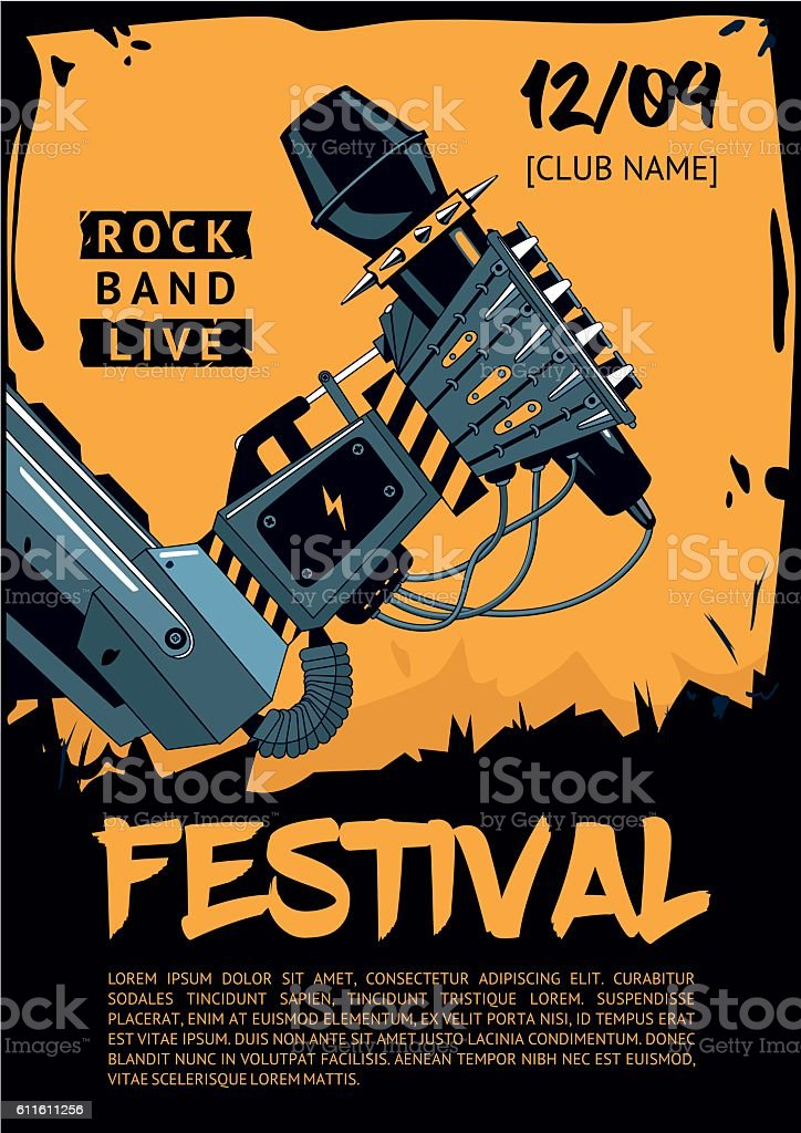 music poster template for rock concert robot is holding microphone