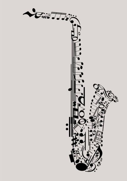 ilustrações de stock, clip art, desenhos animados e ícones de music poster template - saxofone
