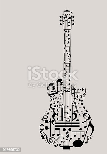 Music guitar concept made with musical symbols