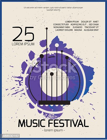Rock music festival. Poster background template. Guitar abstract t-shirt print.
