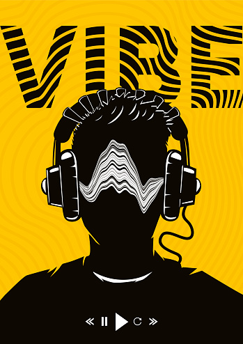 Music poster with male head on headphones. Night party dj. Electro dance festival background. Vector illustration.