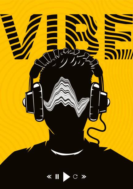 illustrations, cliparts, dessins animés et icônes de affiche de musique avec la tête masculine sur des écouteurs. soirée dj. fond de festival de danse électro. illustration de vecteur. - hip hop