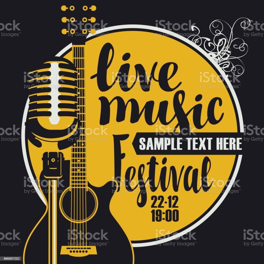 music poster with microphone and acoustic guitar vector art illustration