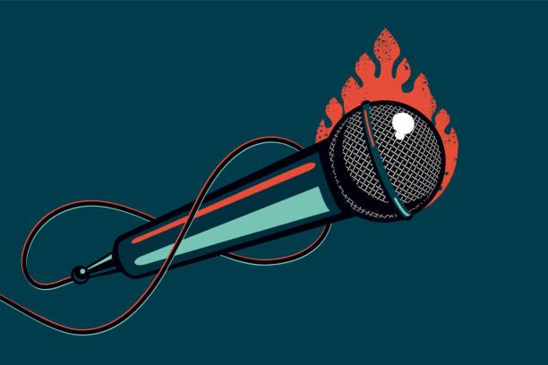 bildbanksillustrationer, clip art samt tecknat material och ikoner med musik affisch med mikrofon och eld. hip-hop och rock party bakgrund med mic. tecknad vektor illustration. - hip hop poster