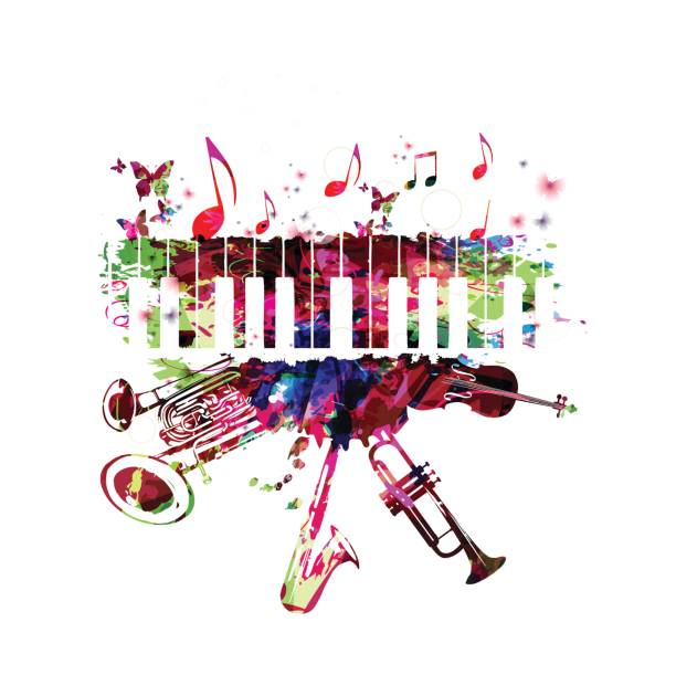 music poster with music instruments - pianino instrument klawiszowy stock illustrations