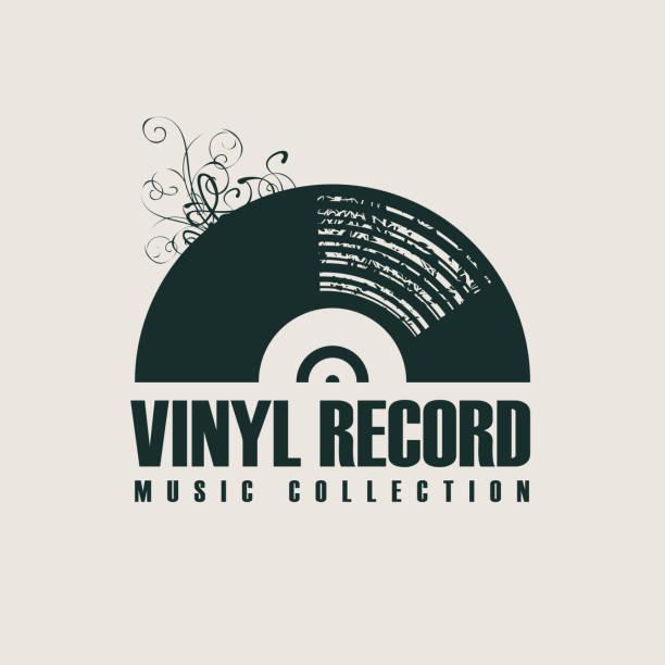 ilustrações, clipart, desenhos animados e ícones de poster da música com registro de vinil no estilo retro - toca discos