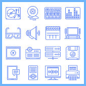 Music production and performance blueprint style concept outline symbols. Line vector icon sets for infographics and web designs.