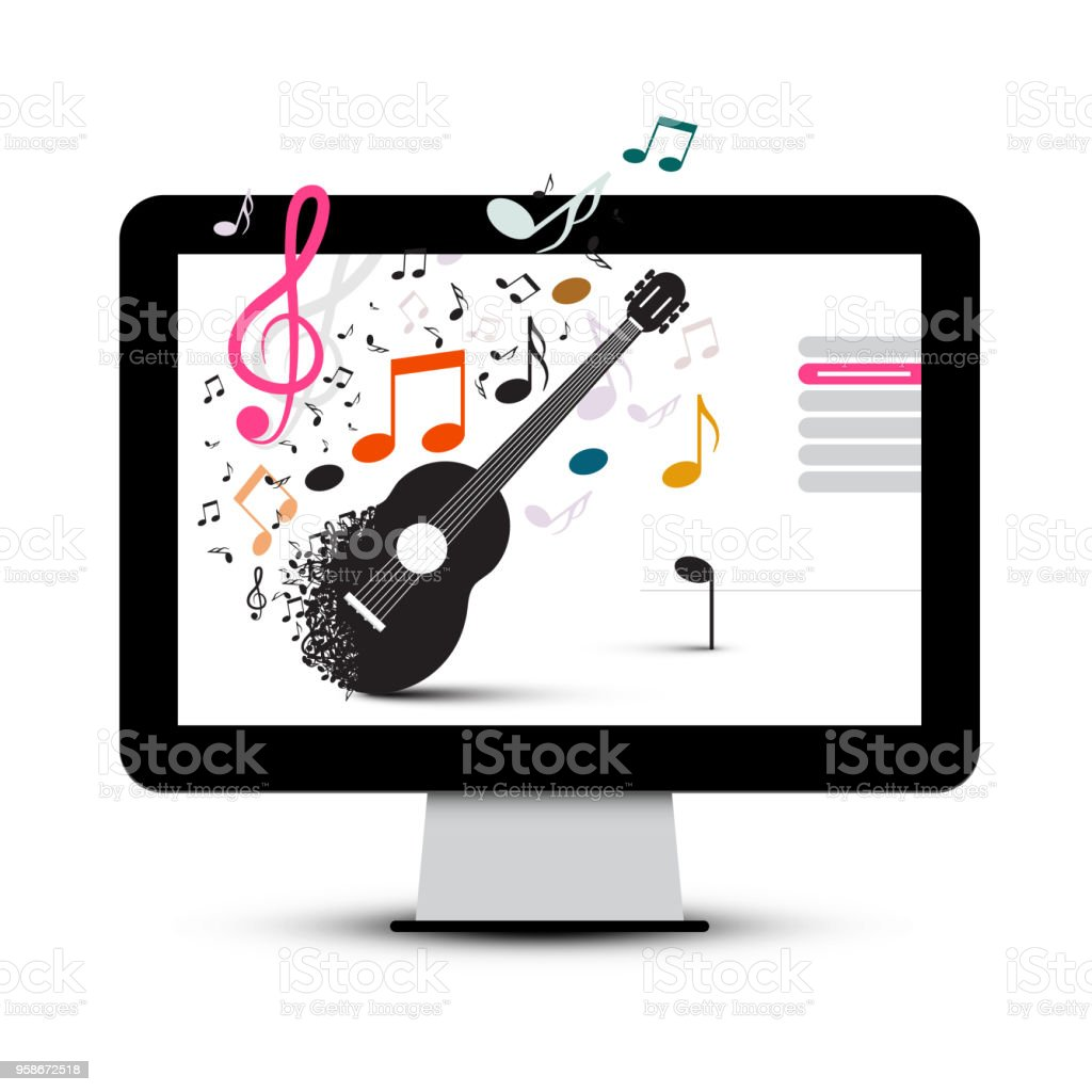 music project with guitar and notes on screen stock vector art rh istockphoto com iPhone Vector Cell Phone Vector