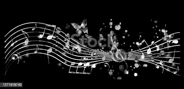 Music promotional poster with music notes vector illustration. Artistic abstract background with music staff for live concert events, music festivals and shows, party flyer template