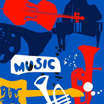 Music promotional poster with musical instruments colorful vector illustration. Violoncello, piano, euphonium, trumpet, guitar for live concert events, jazz music festivals and shows, party flyer