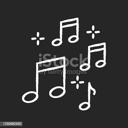 Music quarter notes chalk white icon on black background. Playing melody. Harmonious sound. Musical signature. Acoustic tune. Sing clef notation. Isolated vector chalkboard illustration