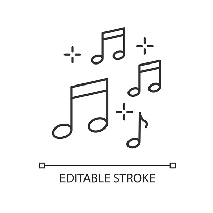 Music quarter notes pixel perfect linear icon. Play melody. Harmonious sound. Musical signature. Thin line customizable illustration. Contour symbol. Vector isolated outline drawing. Editable stroke