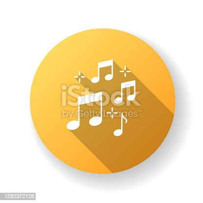 Music quarter notes yellow flat design long shadow glyph icon. Playing melody. Harmonious sound. Musical signature. Acoustic tune. Symphony symbols. Pop band rhythm. Silhouette RGB color illustration