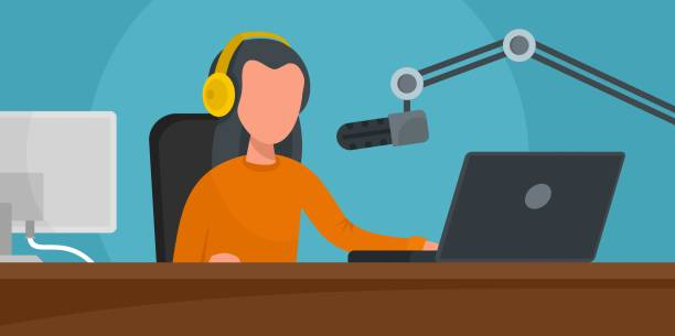 ilustrações, clipart, desenhos animados e ícones de música de rádio estação banner horizontal, plana estilo - ícones de festas e estações