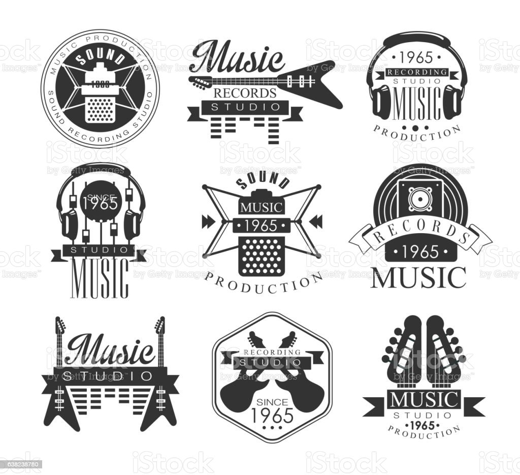 Music Record Studio Black And White Emblems vector art illustration