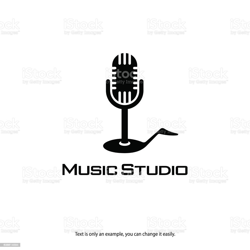 music record studio logo microphone and note vector icon