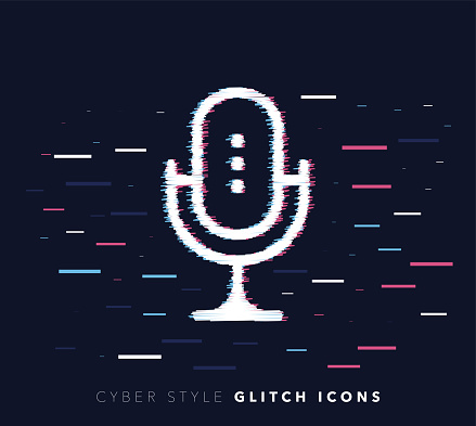 Music Recording Software Glitch Effect Vector Icon Illustration