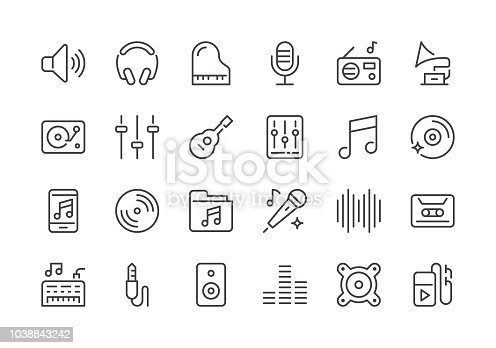 Music - Regular Line Icons - Vector EPS 10 File, Pixel Perfect 24 Icons.