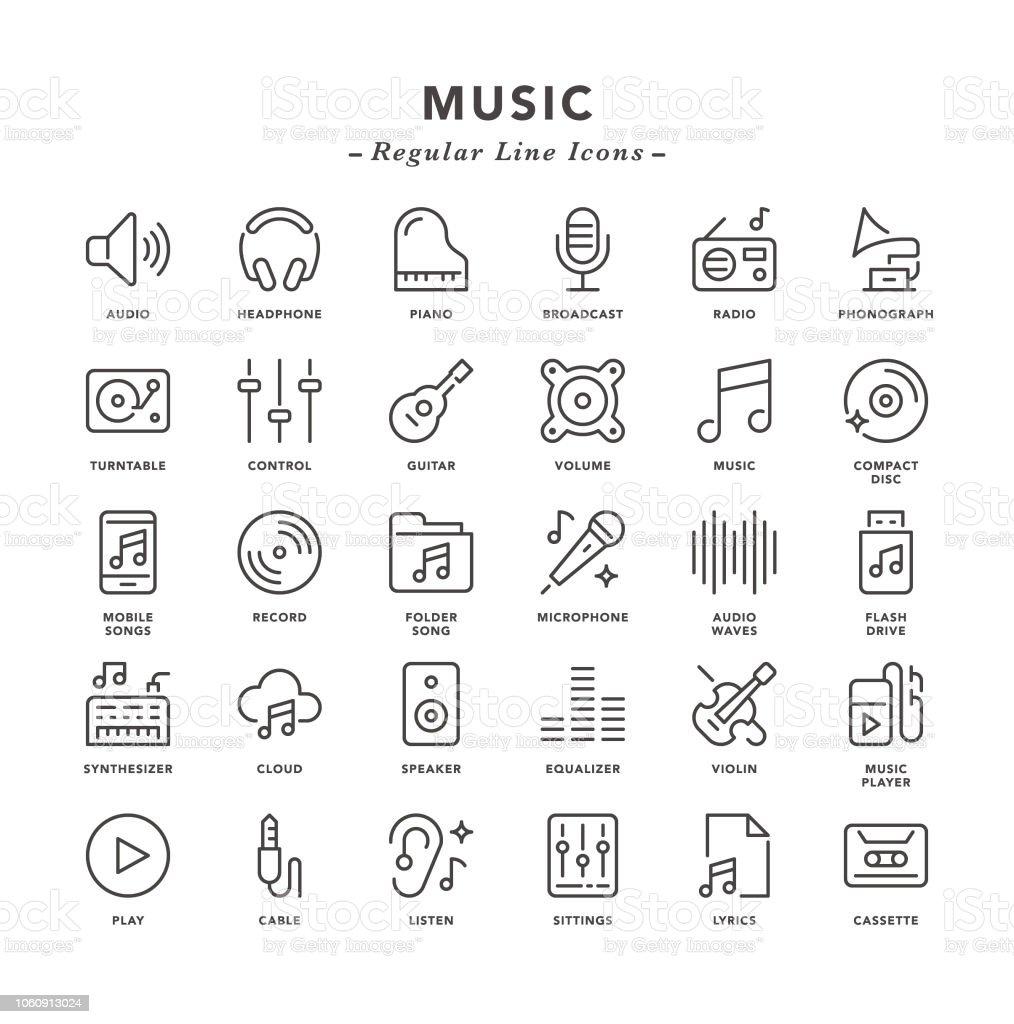 Musique - icônes de ligne régulière - clipart vectoriel de Bruit libre de droits