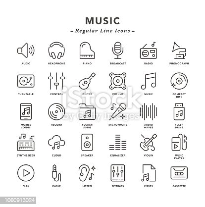 Music - Regular Line Icons - Vector EPS 10 File, Pixel Perfect 30 Icons.