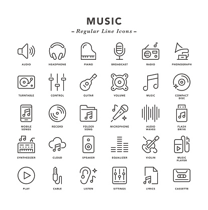 Music - Regular Line Icons