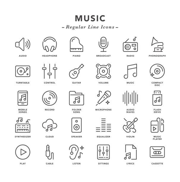 muzyka - zwykłe ikony linii - muzyka stock illustrations