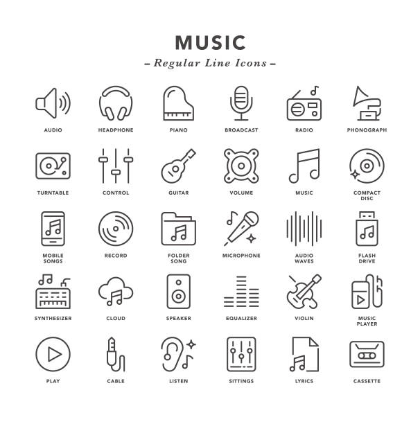music - regular line icons - hałas stock illustrations
