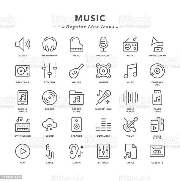 Musique Icônes De Ligne Régulière Vecteurs libres de droits et plus d'images vectorielles de Bruit