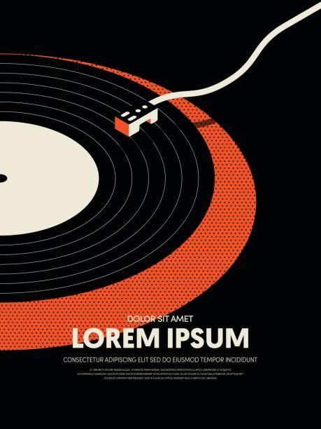 stockillustraties, clipart, cartoons en iconen met muziek retro vintage abstracte poster achtergrond - vinylplaat