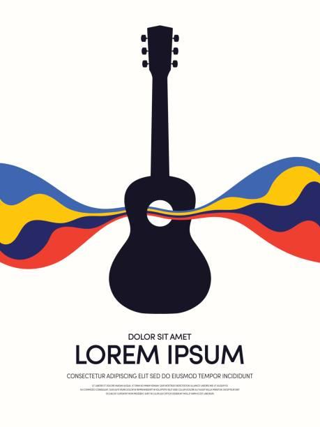 stockillustraties, clipart, cartoons en iconen met muziek retro vintage abstracte poster achtergrond - gitaar