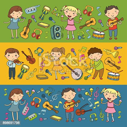 istock Music school for kids Vector illustration Children singing songs, playing musical instruments Kindergarten Doodle icon collection Illustration for children music lesson 898691798